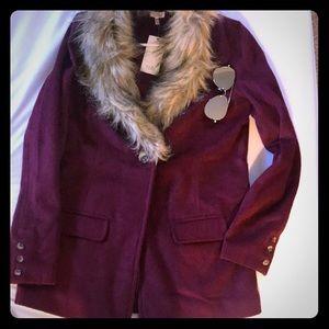 Burgundy Faux Fur coat